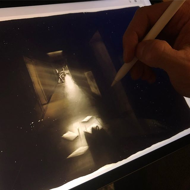 Painting some concept art for my next shortfilm on the iPad Pro. Trying to visualize some ideas – Sometimes it's easier for me to communicate my vision with a picture than with a thousand words.